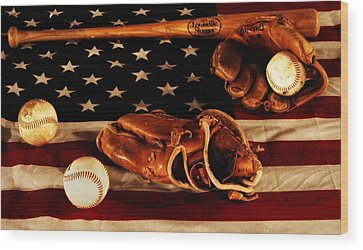 Baseball Gloves Wood Prints