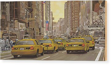 New York Taxi Paintings Wood Prints