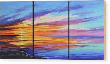 Ocean Sunset Wood Prints
