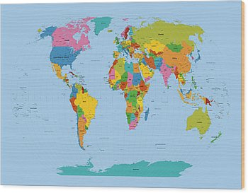 Map Of The World Wood Prints