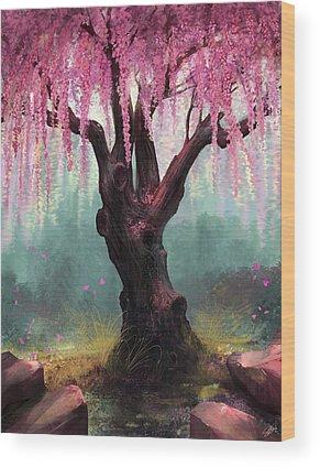 Cherry Blossom Digital Art Wood Prints