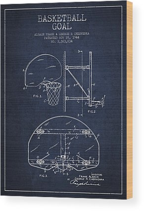 Basketball Goal Patent Wood Prints
