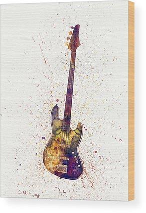 Bass Guitar Digital Art Wood Prints