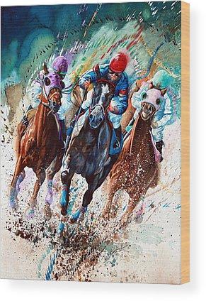 Race Horse Wood Prints