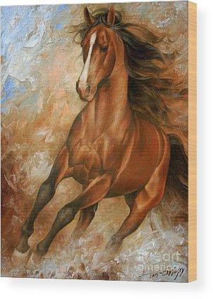 Running Horses Wood Prints