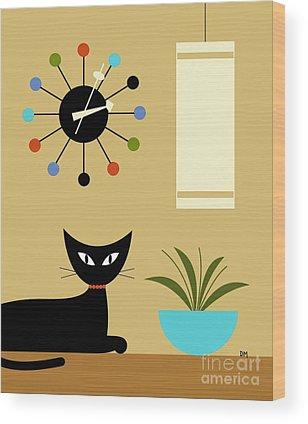 Orange Cat Wood Prints