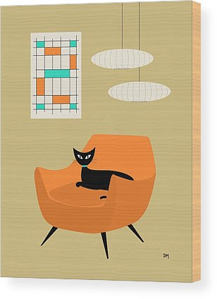 Tan Cat Wood Prints