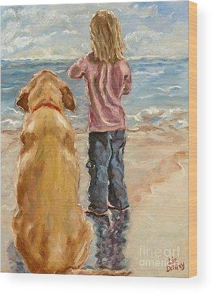 Dogs On Beach Wood Prints