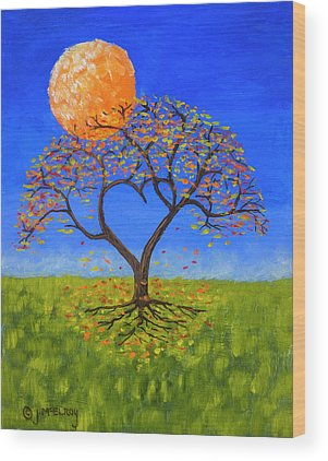 Full Moon Paintings Wood Prints