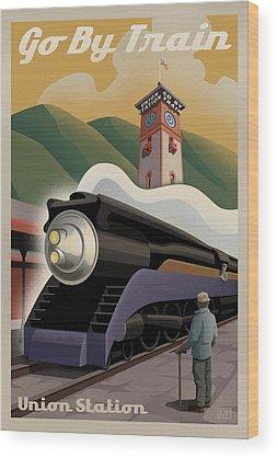 Train Wood Prints