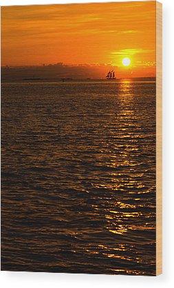 Sailboat Sunset Wood Prints