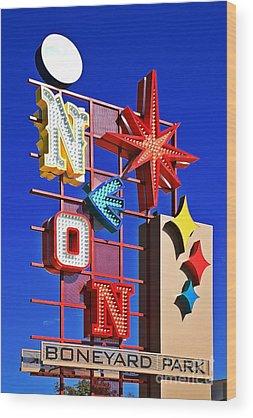 Neon Boneyard Photographs Wood Prints
