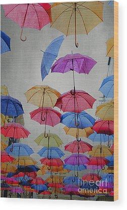 Blue Umbrella Wood Prints
