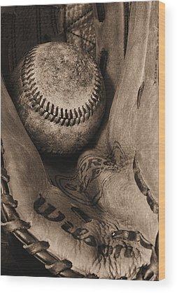Baseball Gloves Wood Prints