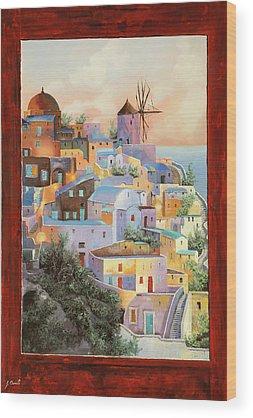 Santorini Wood Prints