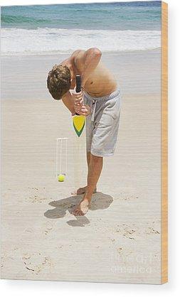 Cricket Players Wood Prints