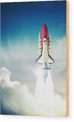 Space Shuttle Photographs Wood Prints