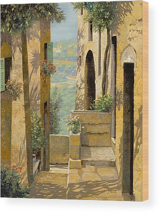 stradina a St Paul de Vence Wood Print by Guido Borelli