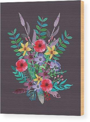 Flower Bouquet Wood Prints