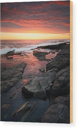Ocean Sunset Wood Prints