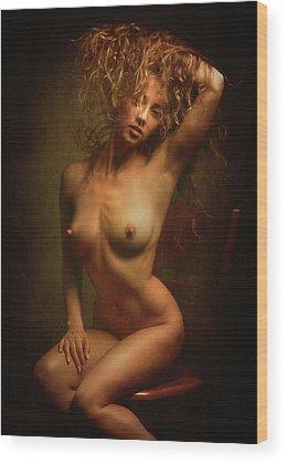Sitting Nude Wood Prints