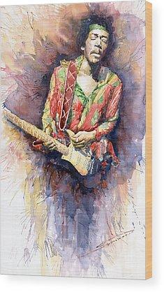 Rock Jimi Hendrix Wood Prints
