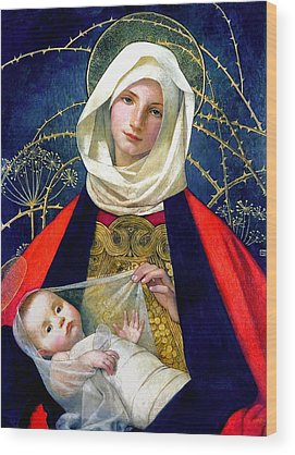 Virgin Mary Wood Prints