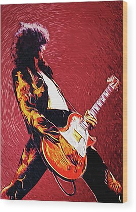 Rock And Roll Jimmy Page Wood Prints