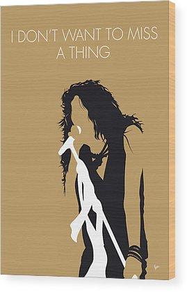 Music Rock Steven Tyler Art Wood Prints
