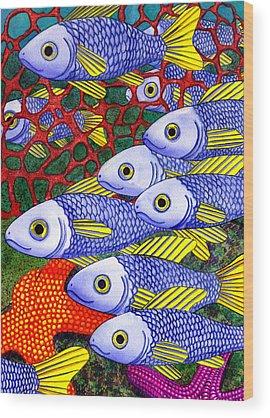 School Of Fish Wood Prints