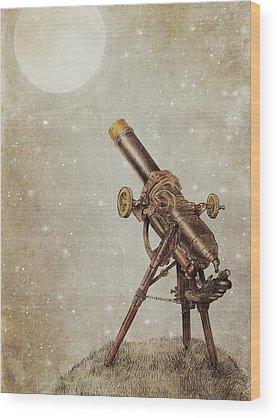 Full Moon Drawings Wood Prints