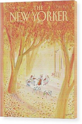 Falling Leaf Wood Prints