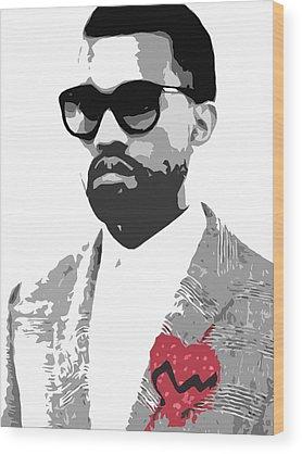 Kanye Rapper Art Wood Prints