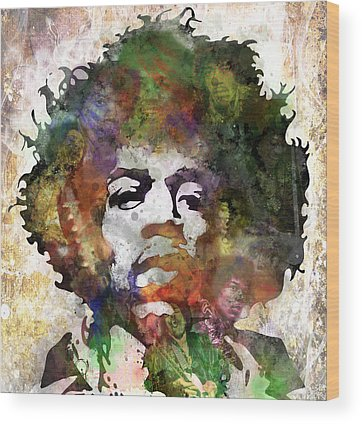 Rock And Roll Jimi Hendrix Music Wood Prints