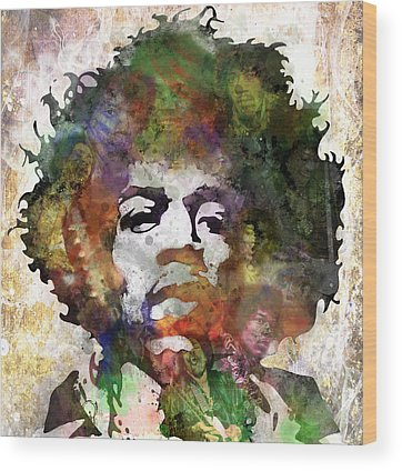 Jimi Hendrix Music Art Rock And Roll Wood Prints