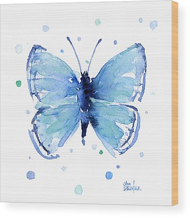 Blue Butterfly Wood Prints