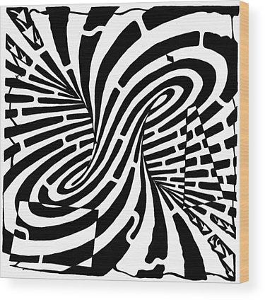 Optical Illusion Maze Wood Prints