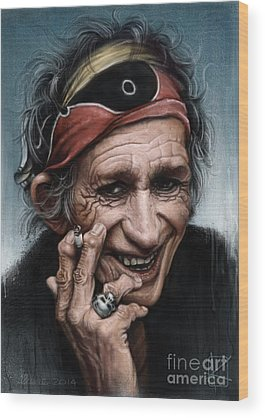 Rolling Stones Keith Richards Wood Prints