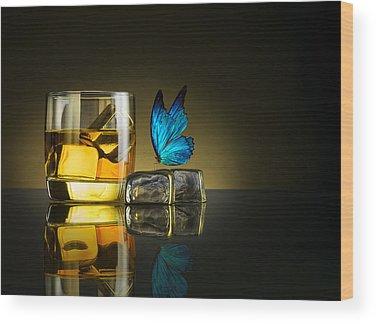 Blue Glass Wood Prints
