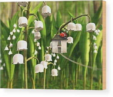 Lady Bug Digital Art Wood Prints