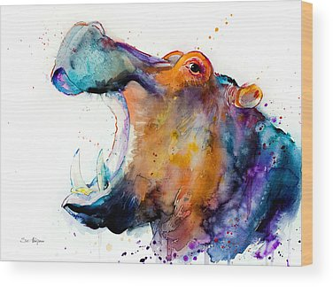 Hippopotamus Wood Prints