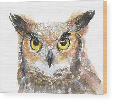 Great Horned Owl Wood Prints