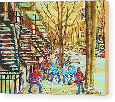Afterschool Hockey Montreal Wood Prints