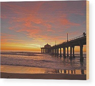 Beach Sunset Wood Prints