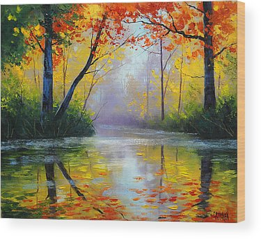 Red Maple Trees Wood Prints