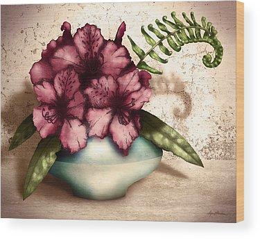 Rhododendron Digital Art Wood Prints