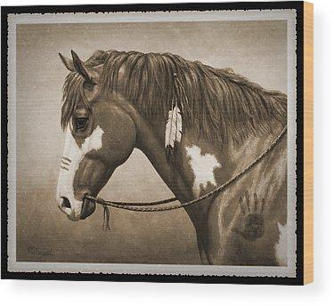 Native American War Horse Wood Prints