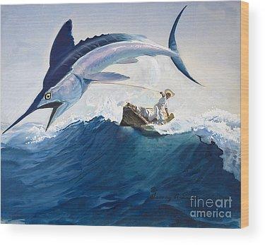 Swordfish Paintings Wood Prints