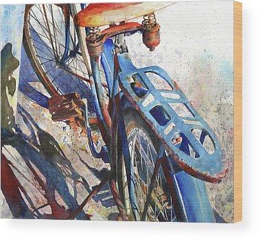 Bicycling Wood Prints