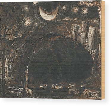Under The Moon Wood Prints